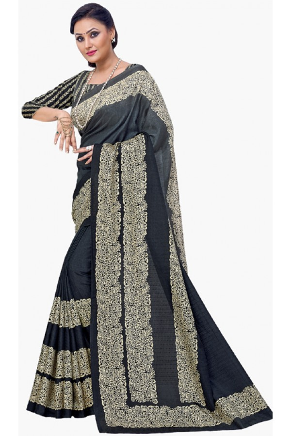 Festival  Wear Black & Beige Dupion Silk Saree  - RKVI6008