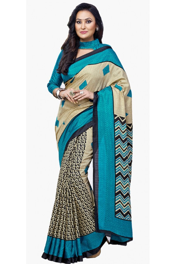 Ethnic Wear Blue & Beige Dupion Silk Saree  - RKVI6010