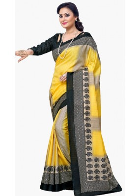 Party Wear Yellow & Black Dupion Silk Saree  - RKVI6011