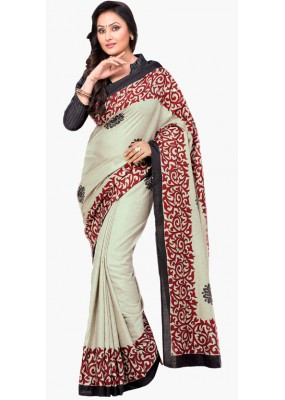 Party Wear Grey & Maroon Dupion Silk Saree  - RKVI6014