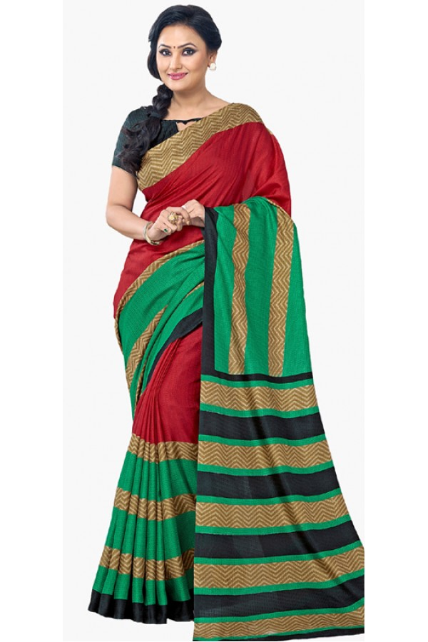 Ethnic Wear Red & Green Dupion Silk Saree  - RKVI6015
