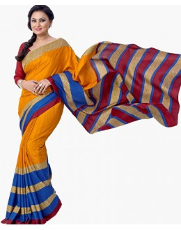 Casual Wear Multicolour Dupion Silk Saree  - RKVI6016