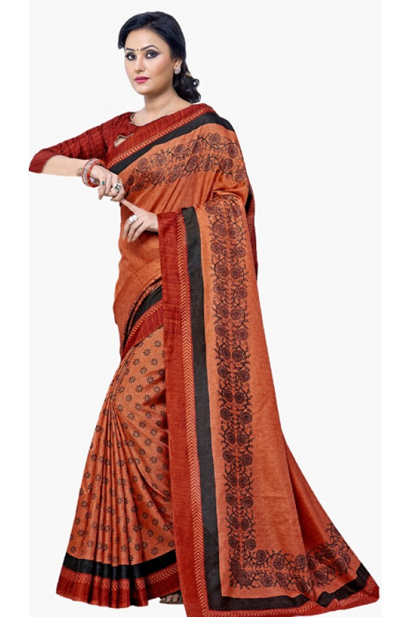 Ethnic Wear Orange & Black Dupion Silk Saree  - RKVI6018