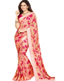 Casual Wear Beige & Pink Georgette Saree - RKVF17344
