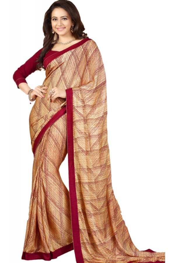 Party Wear Beige & Maroon Georgette Saree - RKVF17347