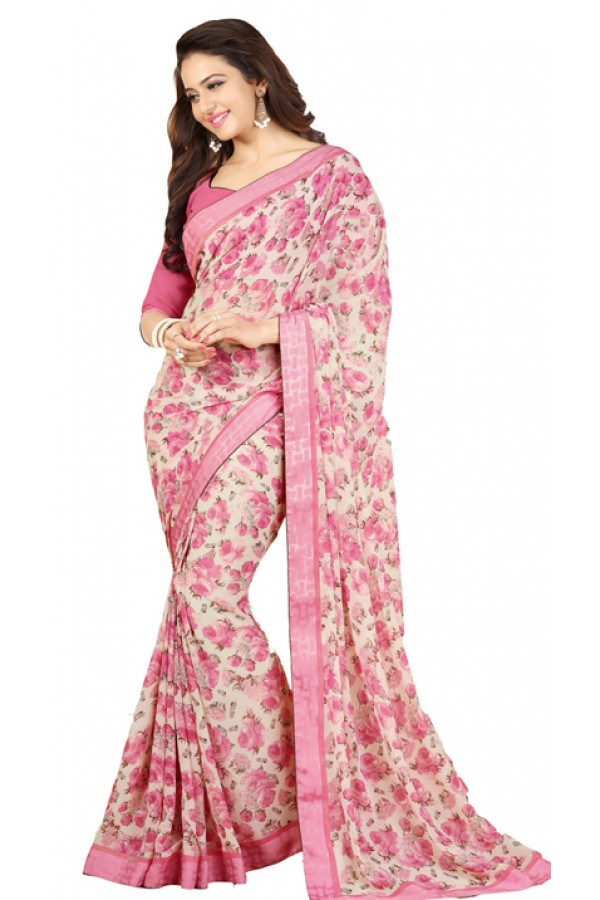 Casual Wear Pink Georgette Saree - RKVF17349