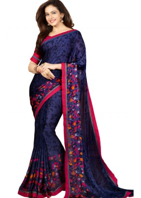 Party Wear Blue & Red Crepe Saree - RKVF17350