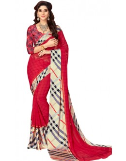 Casual Wear Multicolour Georgette Satin Silk Saree  - RKVIKI9362