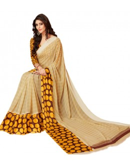 Casual Wear Beige Georgette Satin Silk Saree  - RKVIKI9368