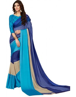 Casual Wear Multicolour Georgette Satin Silk Saree  - RKVIKI9370