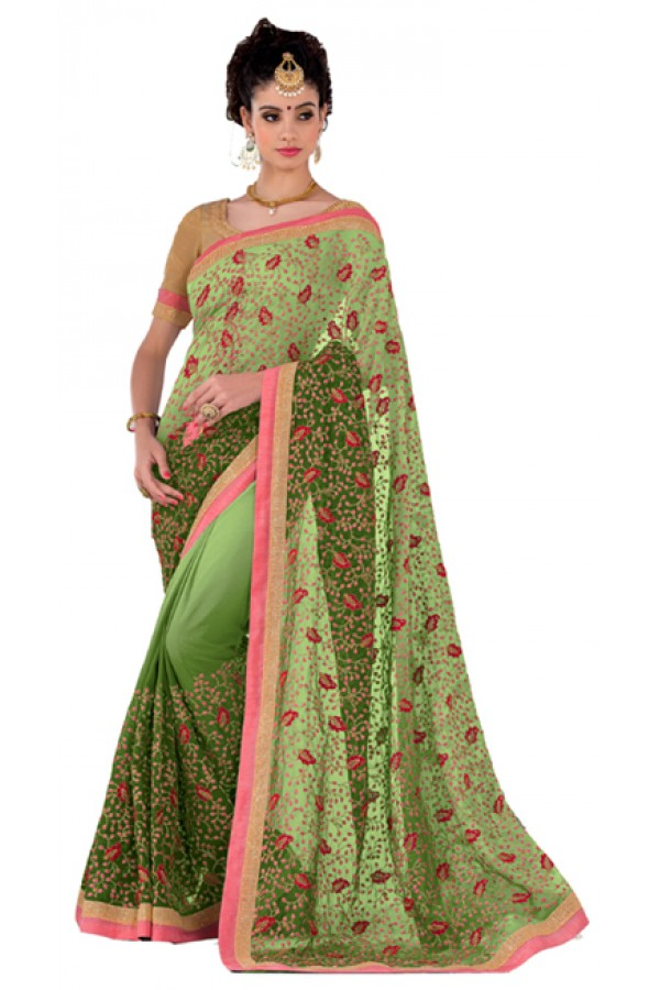Party Wear Green Georgette Saree - RKVR1512B