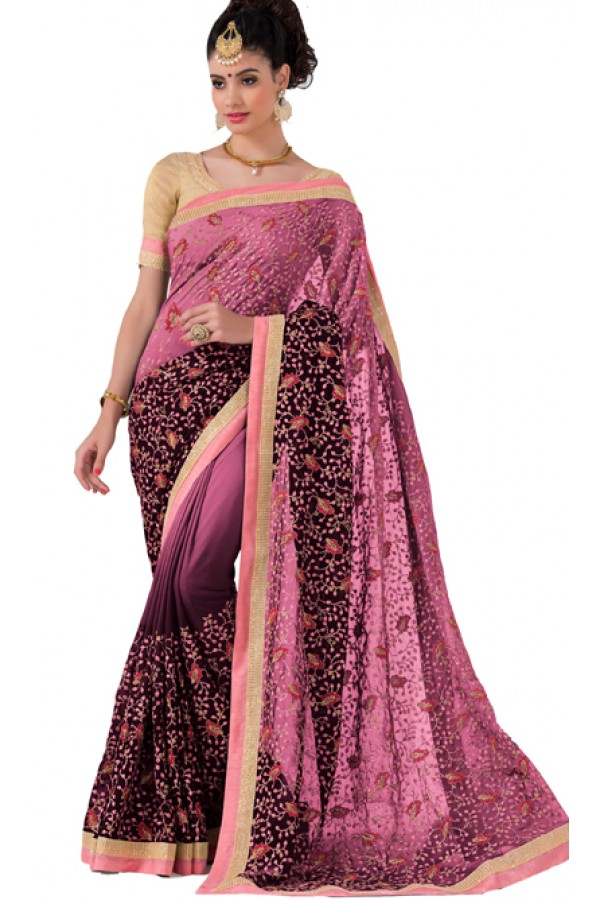 Party Wear Pink Georgette Saree - RKVR1512C