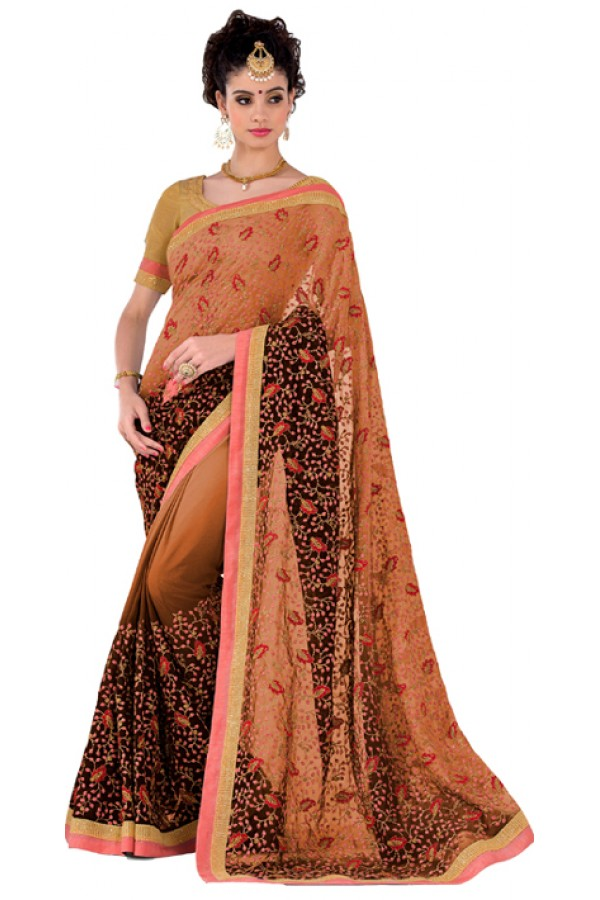 Party Wear Orange Black Georgette Saree - RKVR1512D