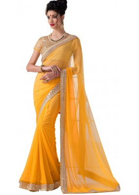 Party Wear Yellow Chiffon Saree - RKVR1513-A