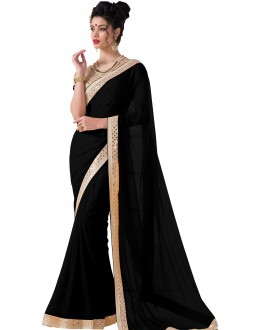 Casual Wear Black Chiffon Saree - RKVR1513-G
