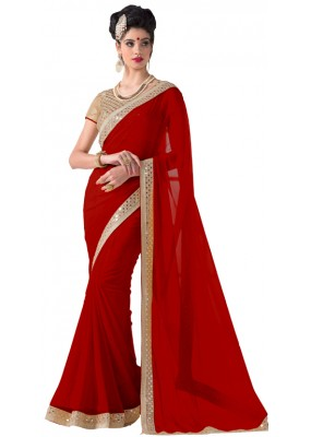Party Wear Red Chiffon Saree - RKVR1513-H