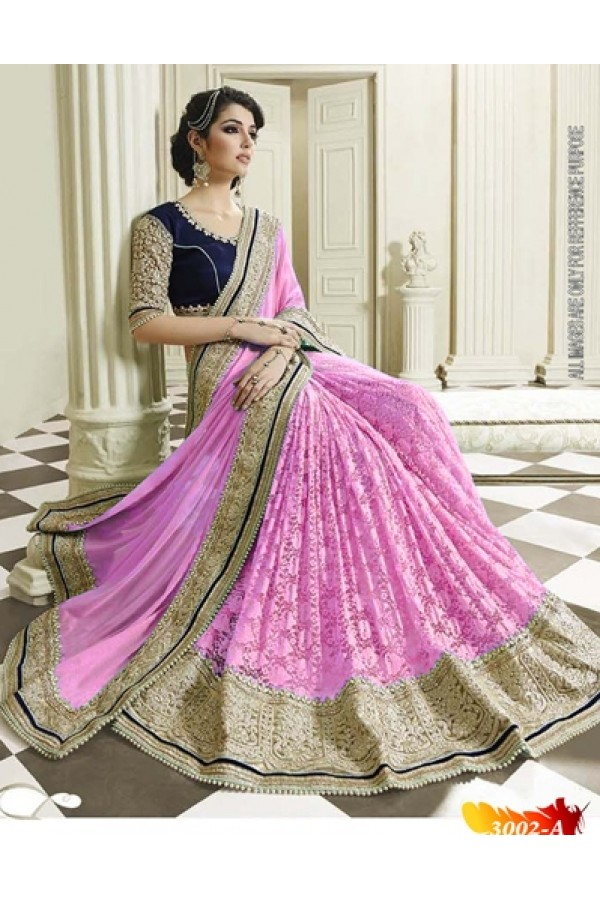 Bollywood Replica -  Designer Pink Saree - 3002-A