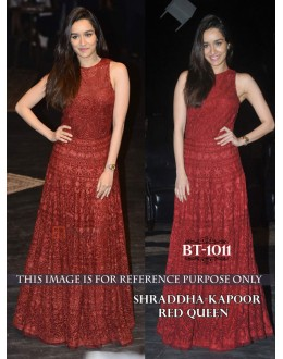 Bollywood Replica - Shraddha Kapoor In Designer Red Nylon Net Gown - BT-1011