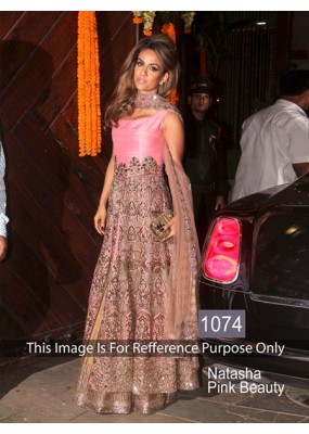 Bollywood Replica-Designer Pink & Beige Long Anarkali Suit  - 1074