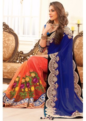Bollywood Replica - Party Wear Embroidered Pure Georgette Net Orange & Blue Saree - S-217-B ( S-217 )