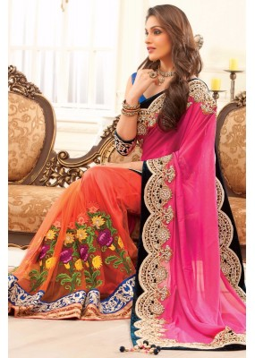 Bollywood Replica - Party Wear Embroidered Pure Georgette Net Orange & Pink Saree - S-217-A ( S-217 )