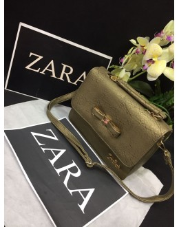 Zara Olive Green Party Wear High Quality Sling Bag - JC07