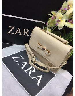 Zara Cream Party Wear High Quality Sling Bag - JC06
