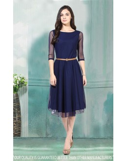 Party Wear Readymade Blue Western Wear Dress - 30001