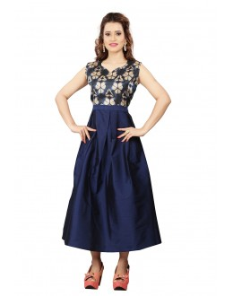 Fancy Wear Readymade Navy Colour Western Wear Dress - 30105