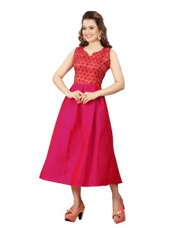 Fancy Wear Readymade Pink Colour Western Wear Dress - 30107