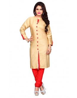 Casual Wear Cotton Cream & Red Kurti - 50028