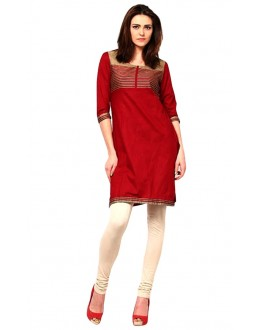 Casual Wear Cotton Red Kurti - 50026
