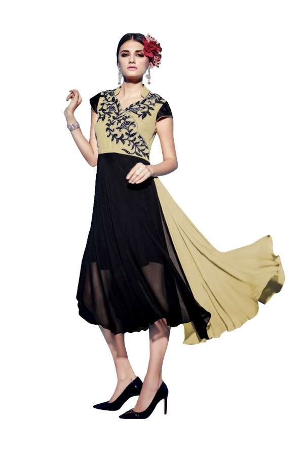 Party Wear Georgette Black & Cream Kurti - 50001
