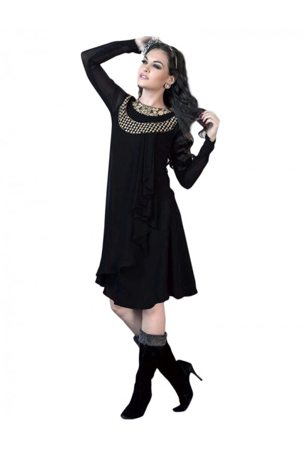 Party Wear Georgette Black Kurti - 50016