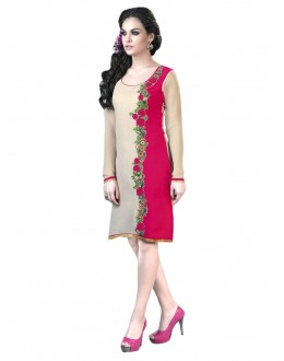 Party Wear Georgette Cream & Pink Kurti - 50014