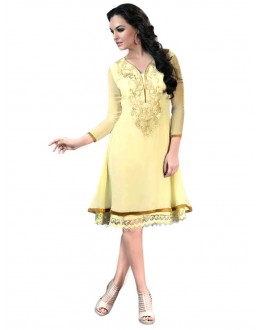 Party Wear Georgette Cream Kurti - 50011