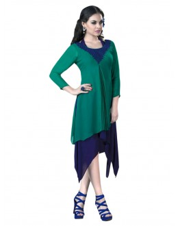 Party Wear Georgette Green & Blue Kurti - 50012