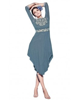Party Wear Georgette Grey Kurti - 50000