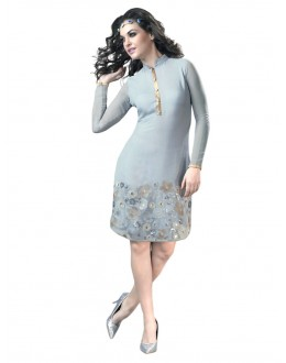 Party Wear Georgette Grey Kurti - 50008