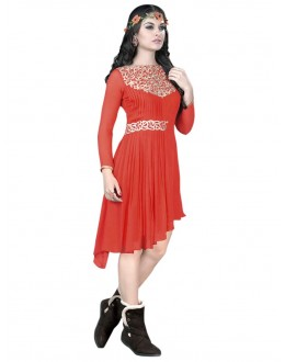 Party Wear Georgette Orange Kurti - 50009