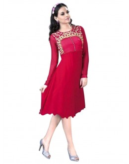 Party Wear Georgette Pink Kurti - 50017
