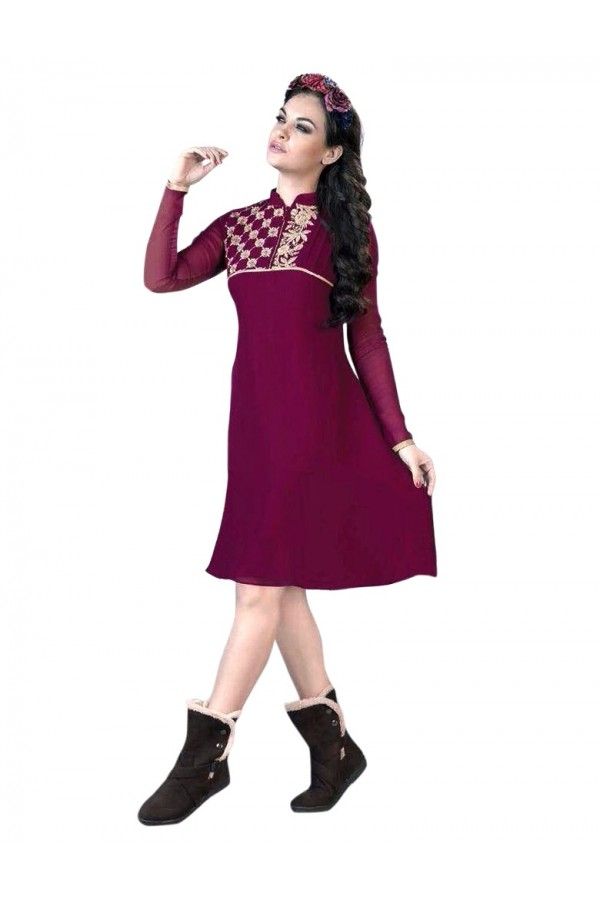Party Wear Georgette Purple Kurti - 50010