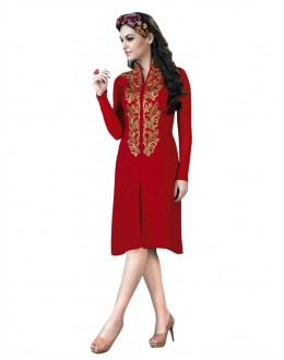 Party Wear Georgette Red Kurti - 50013