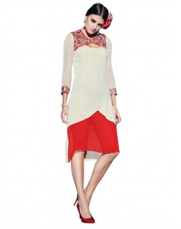 Party Wear Georgette White Kurti - 50002