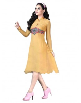 Party Wear Georgette Yellow Kurti - 50015