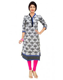 Festival Wear Readymade White Cotton Kurti - 50128B