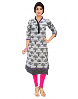 Office Wear Readymade White Cotton Kurti - 50128C
