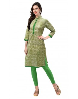 Ethnic Wear Readymade Green Cotton Kurti - 50131