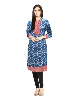 Office Wear Readymade Blue Cotton Kurti - 50135