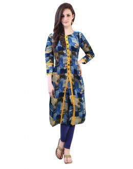 Casual Wear Readymade Blue Cotton Kurti - 50139
